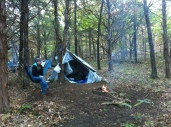 our tarp shelter (waterproof and warm)