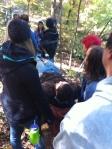 Practicing bush medical care - homemade stretcher