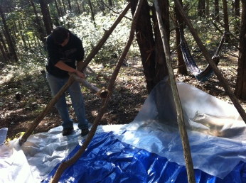 building our tarp shelter